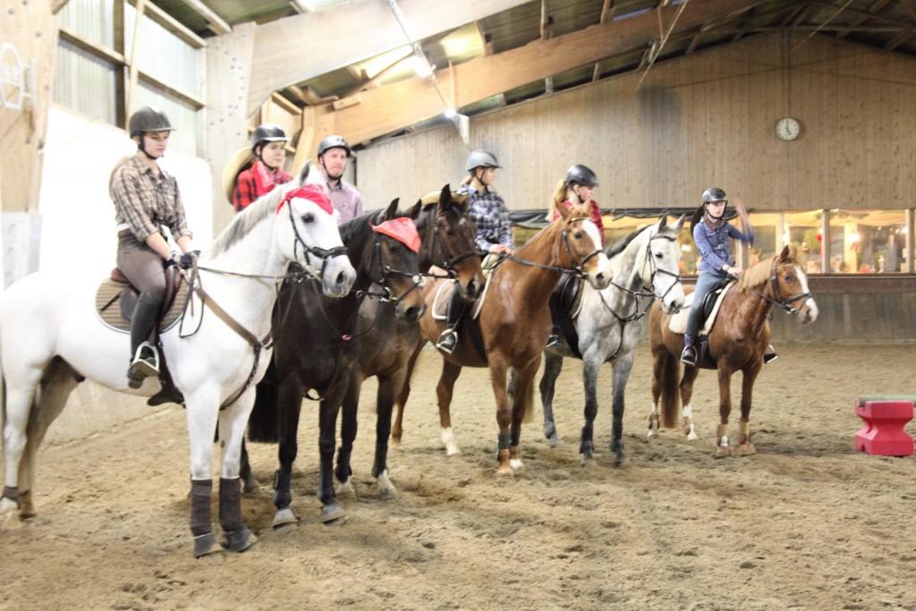 Die Cowboys und Cowgirls mit ihren Pferden.